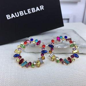 BAUBLEBAR | Multi Colored Stone Hoop Earrings